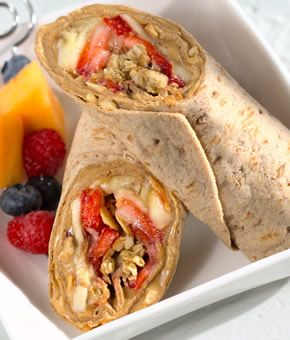 YUM! peanut butter, strawberries, bananas and granola wrap- good breakfast idea