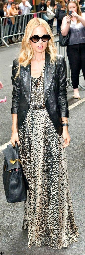Rachel Zoe in leather jacket with animal print maxi dress