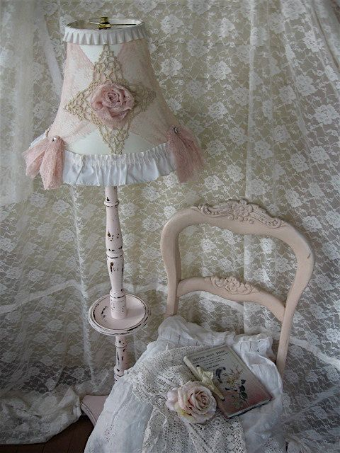 shabby chic floor lamp pink tattered vintage lace and With pink lace floor lamp
