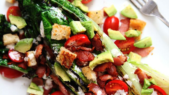 Grilled BLT Salad--This gorgeous salad is satisfying enough to be a main dish but can also work as a side.