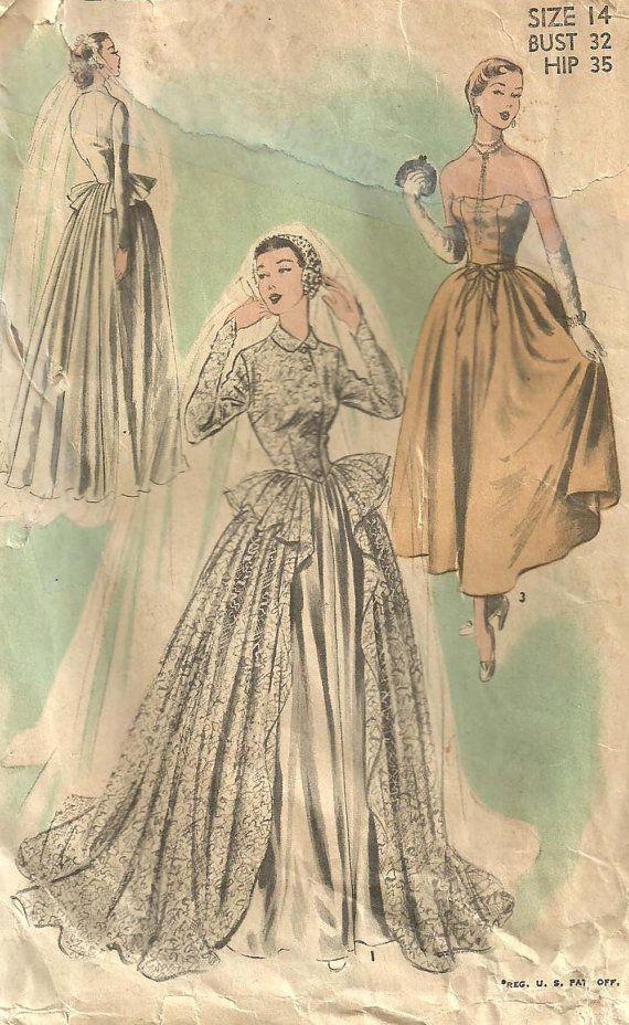 Advance 5502 Vintage 50s Sewing Pattern Wedding Dress Bridal Gown Siz