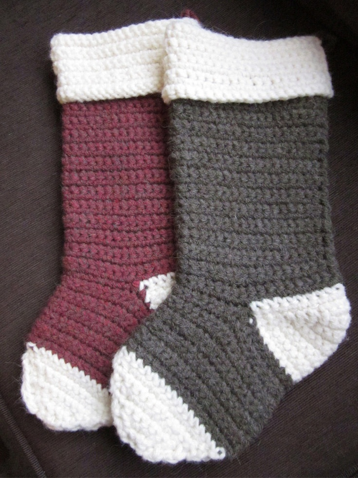 Crochet Xmas Stocking : Crocheted Christmas stockings. The perfect shape! DIY:) Pinterest