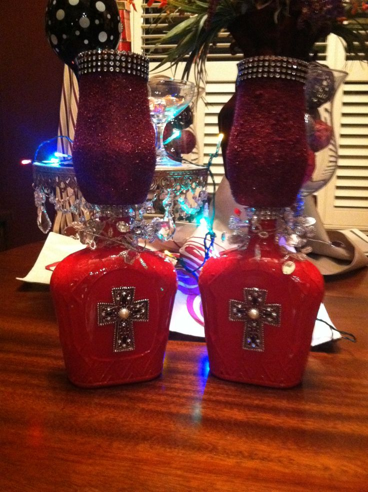 Holiday decorated crown royal bottles holiday for Christmas crown decoration