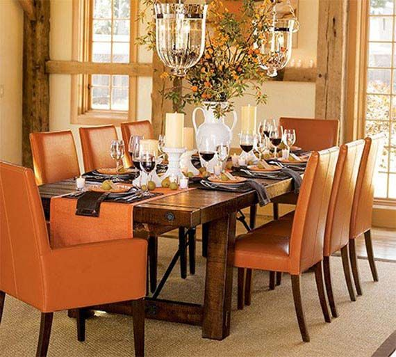 Orange dining room orange chair covers home decor for Orange dining room design ideas
