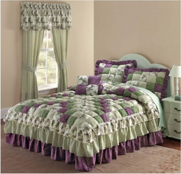 Purple and green patch print bedding - Green and purple comforter ...