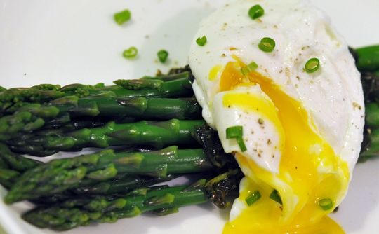 Good for brunch; Asparagus with Poached Egg, Tarragon and Chives
