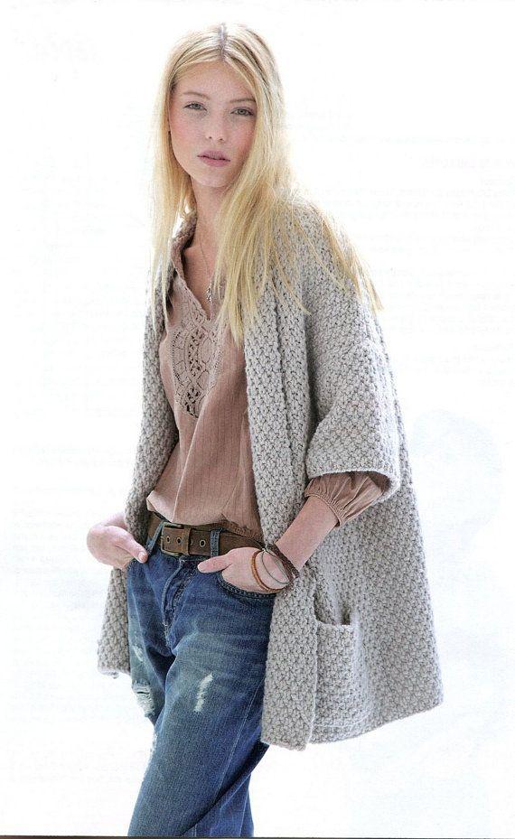 Knitting Patterns For Sweater Coats : ENGLISH Moss Stitch 3/4 Sleeves Jacket Knitting Pattern PDF