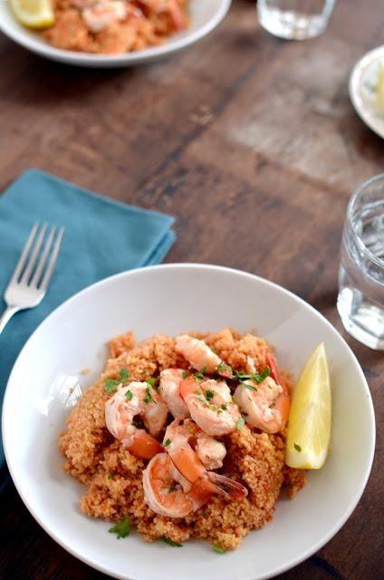 ... Thanksgiving Recipes / Shrimp Scampi on Couscous Recipe - tableFEAST