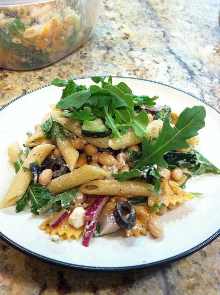 Pasta with goat cheese and arugula, my take on a Martha Stewart recipe