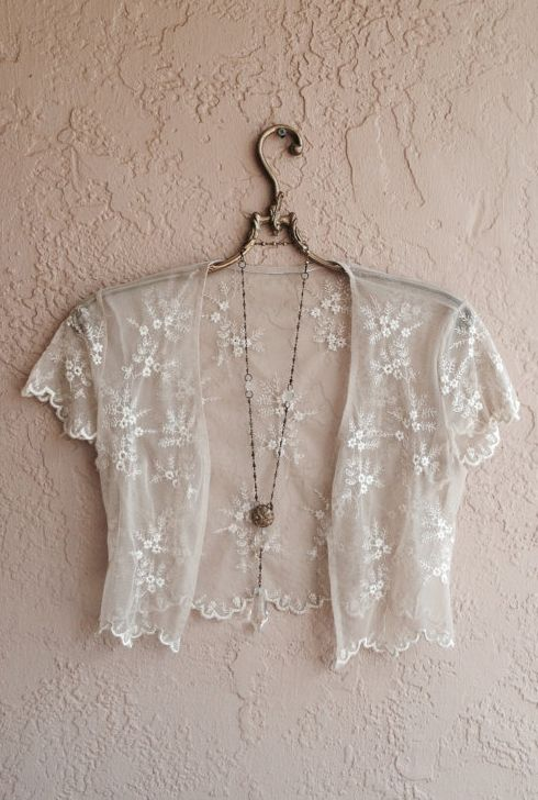 Sheer bohemian romantic shrug crop top in lace
