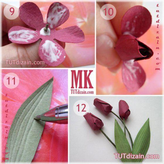 Тюльпаны из бумаги своими руками пошаговое фото легкие для детей 166
