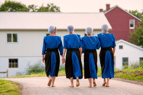 Barefoot Amish girls in rural Pennsylvania.