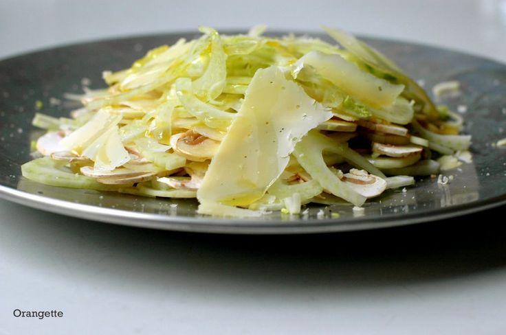 shaved fennel salad with mushrooms + parmesan// orangette