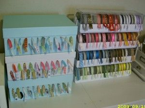 Use a shoe box or photo box to store all your ribbons in a neat & organized way