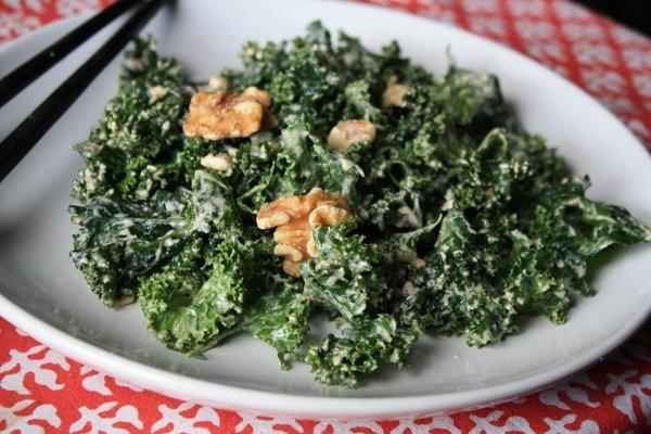 Kale salad with miso-walnut dressing