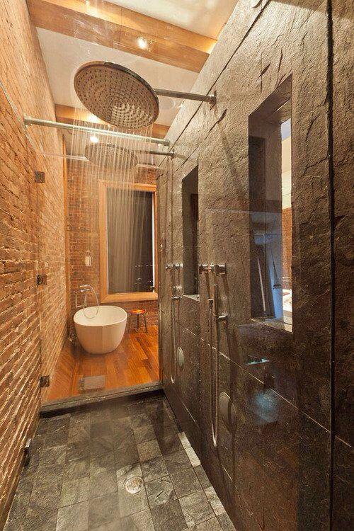 Double shower heads master bath ideas pinterest for Bathroom ideas double shower