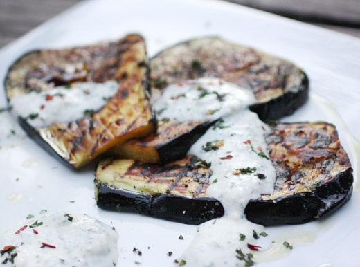Grilled Aubergine with Creamed Feta | Recipes to make | Pinterest