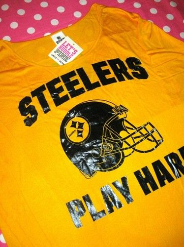 New Victoria Secret Pink Steelers Yellow Black NFL Tee T Shirt Small s