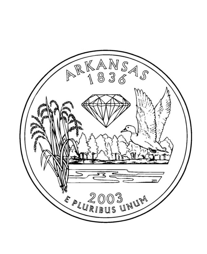 Coloring Pages Quarter : Arkansas state quarter coloring page u s th states