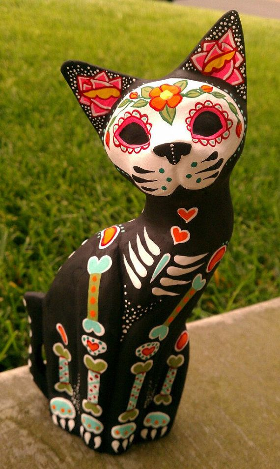 Dia de los Muertos Hand Carved wooden Cat - Painted to honor your pet
