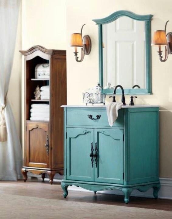 turquoise vanity bathroom decor