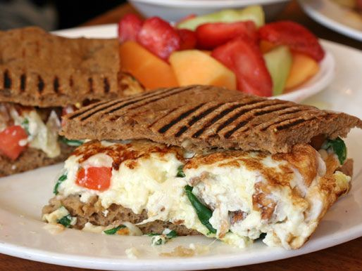 ... egg white omelet. The whole thing is placed between two slices of thin