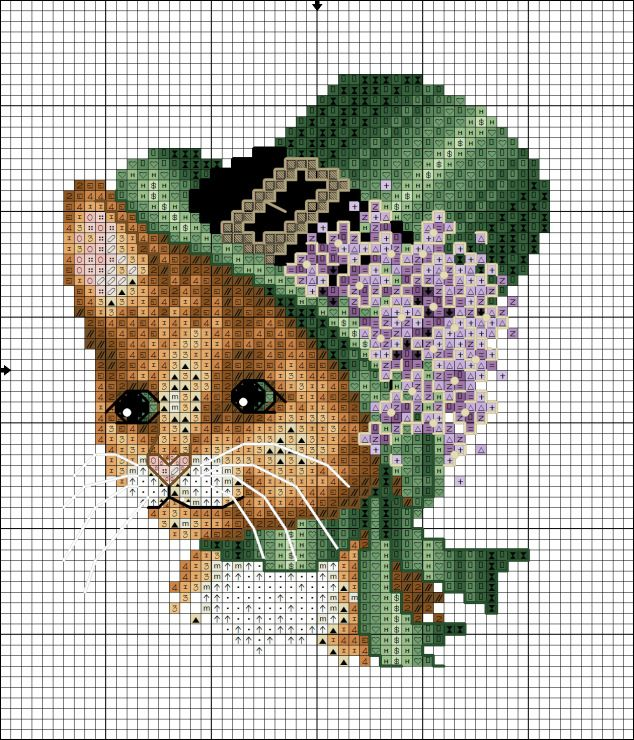 Вышивка кошка в шляпе 52