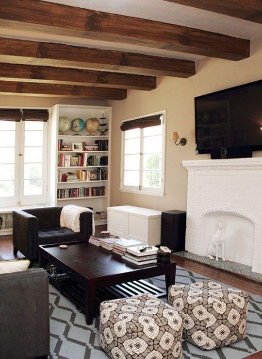 Wood beam ceiling beamed wood ceilings pinterest for Exposed beam ceiling living room