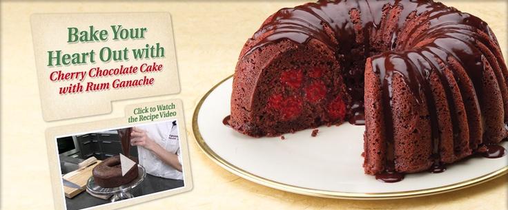 Chocolate Cherry Cake with Rum Ganache | Cupcakes & Cakes | Pinterest