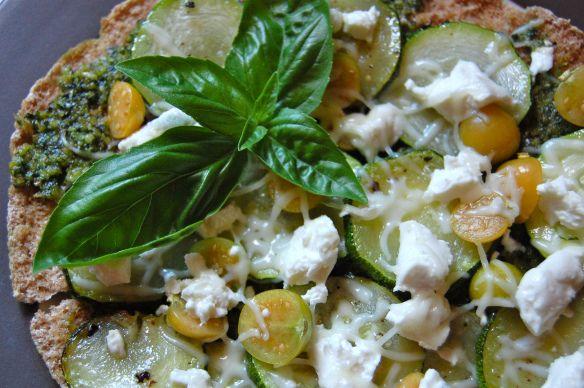 Zucchini Pesto Pizza