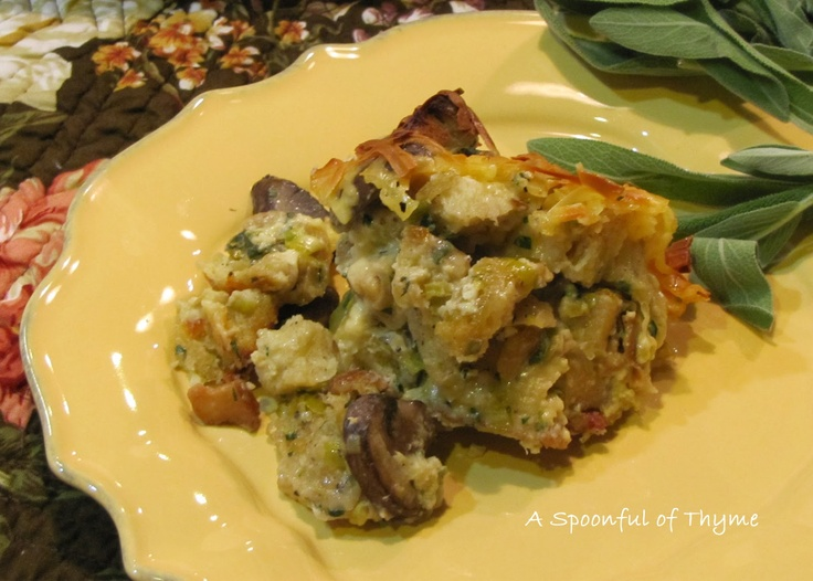 Spoonful of Thyme: Mushroom and Leek Bread Pudding....Dressing! @ ...