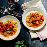 Moroccan winter squash and carrot stew with quinoa
