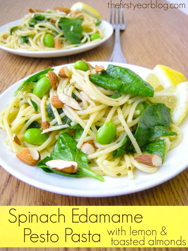 Spinach Edamame Pesto Pasta with Lemon and Toasted Almonds | Recipe
