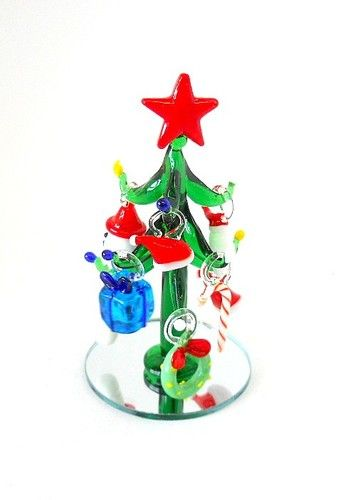 Hand Blown Glass Christmas Tree Ornaments : New hand blown glass mini green christmas tree with