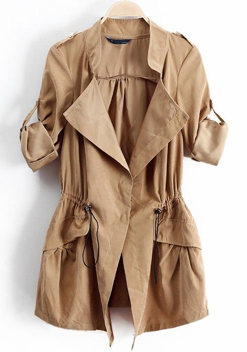 Khaki Drawstring Epaulet Notch Lapel Dacron Trench Coat Fashion