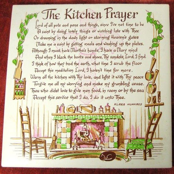 Kitchen Prayer Quotes: Vintage Tile Trivet Or Wall Hanging, The Kitchen Prayer