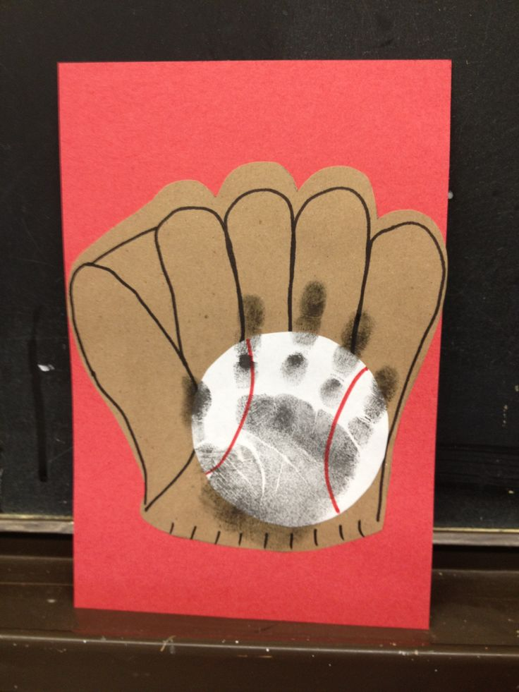 "Baseball & Mitt Hand Print Craft.  What a ""catch"" for Father's Day or for your favorite baseball fan!"