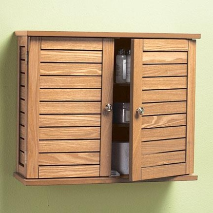 Oak Finish Bathroom Wall Cabinet