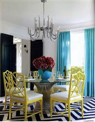 turquoise and yellow dining room