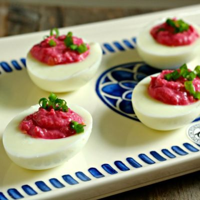 Red Horseradish Deviled Eggs and Red Horseradish German Potato Salad