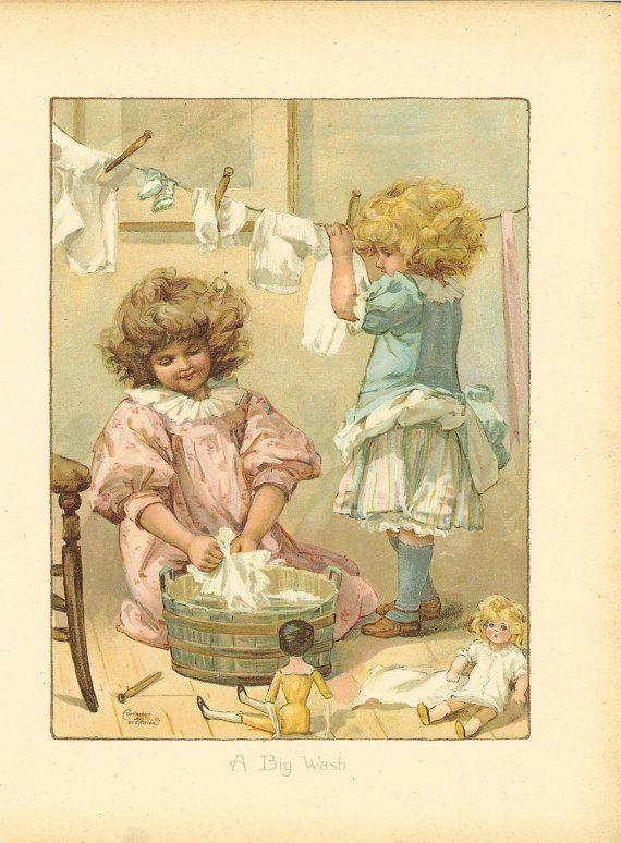 "Antique Victorian 1897  childrens print. "" A Big Wash"""