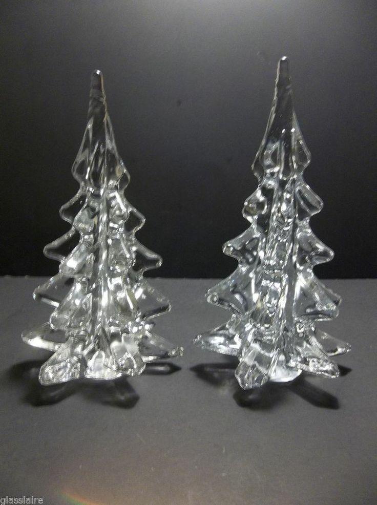 Vintage art glass christmas tree set of crystal clear