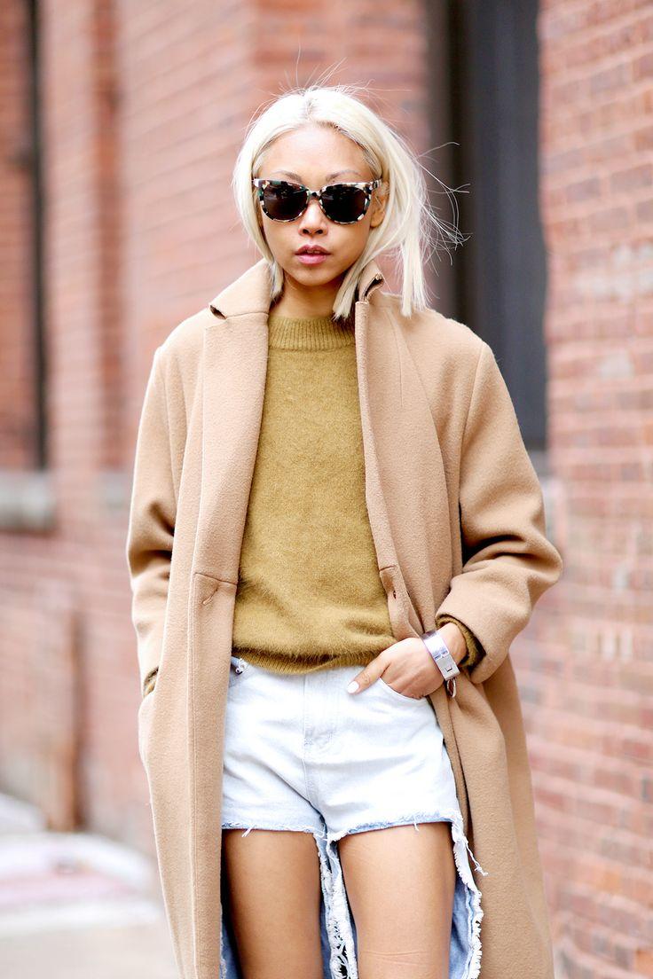 shorts and a long coat