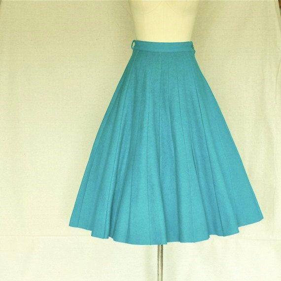 etsy vintage turquoise blue teal blue felted gored skirt