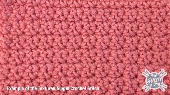 textured single crochet stitch tutorial Crochet Pinterest