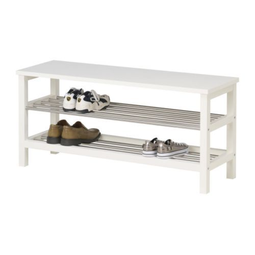Tjusig bench with shoe storage black for Shoe rack bench ikea