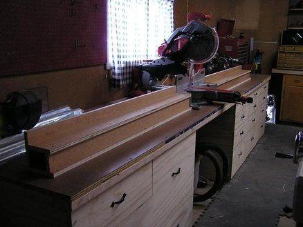 Miter Saw Bench and Storage | Shop idea | Pinterest