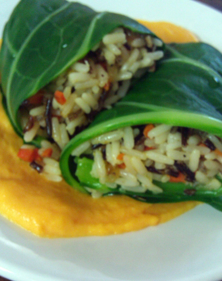 Wild Rice Stuffed Swiss Chard with Root Vegetable Puree