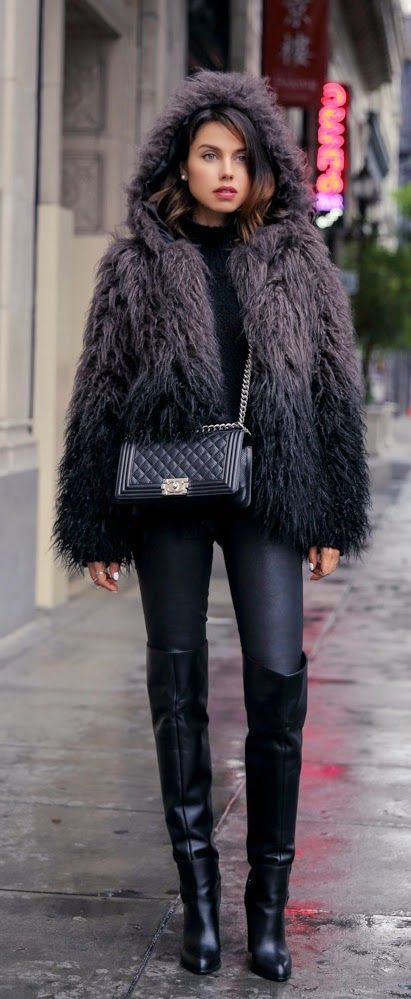Cozy Oversized Faux Furry Jacket & Knee Leather Heeled Boots