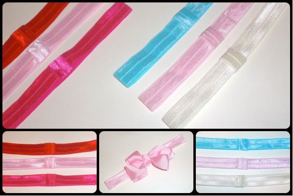 25 elastic interchangeable bow hair bands set of 3 bands only
